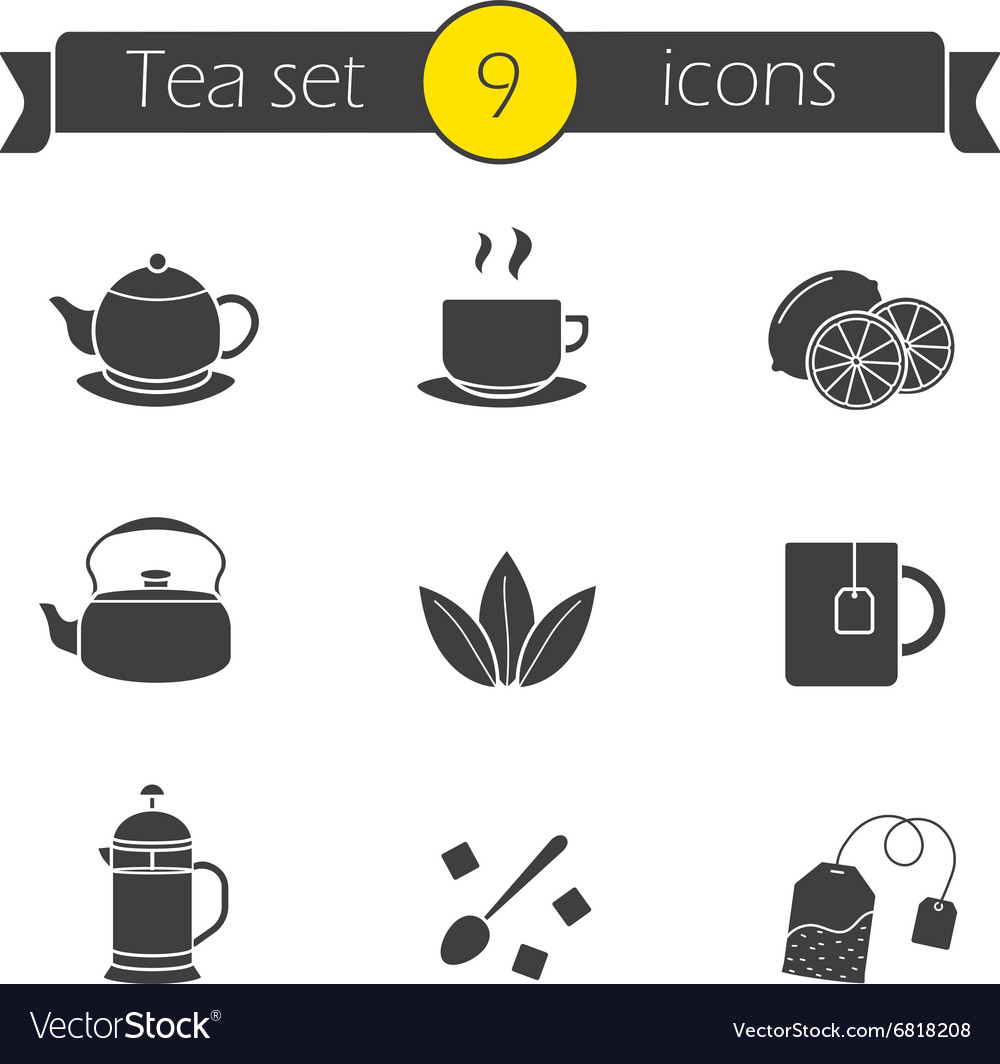 Tea silhouettes icons set vector image