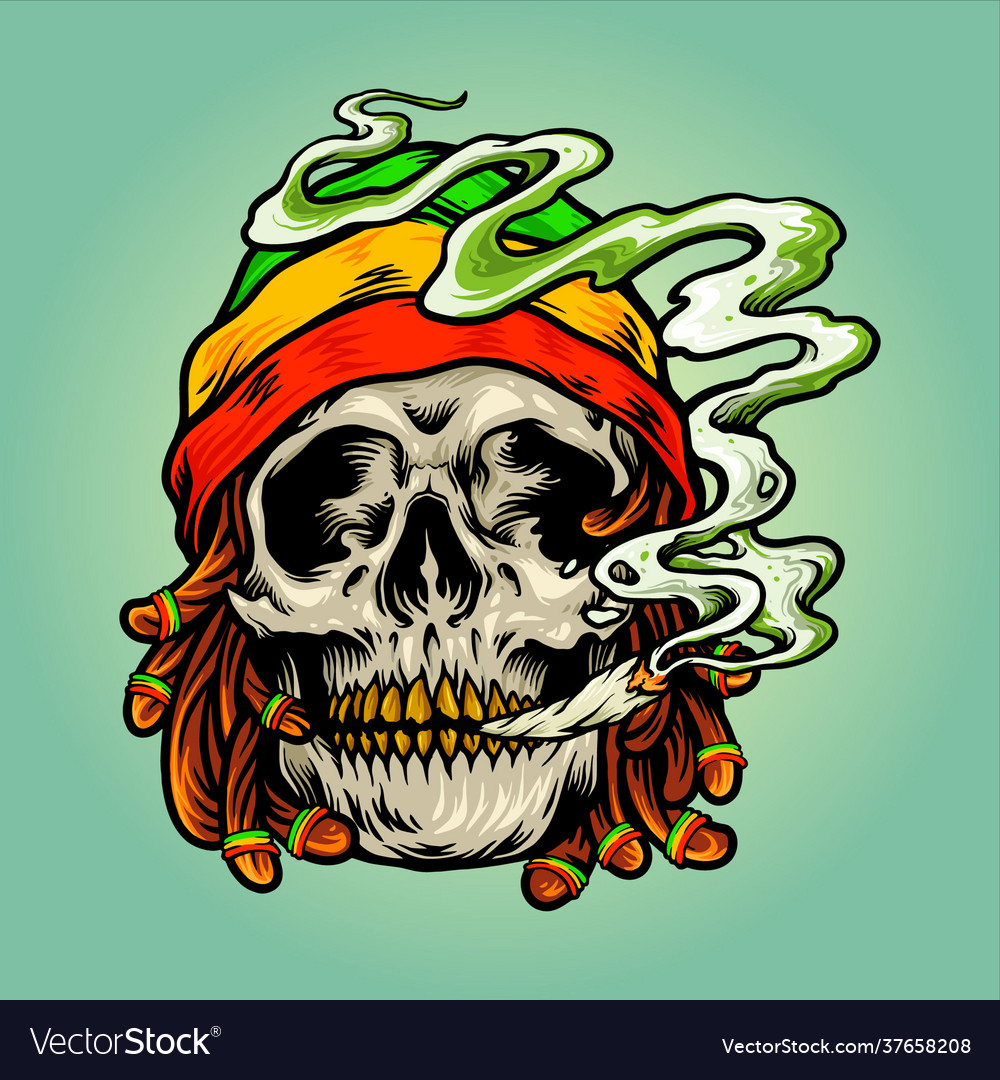 Weed skull smoke cannabis jamaican hat