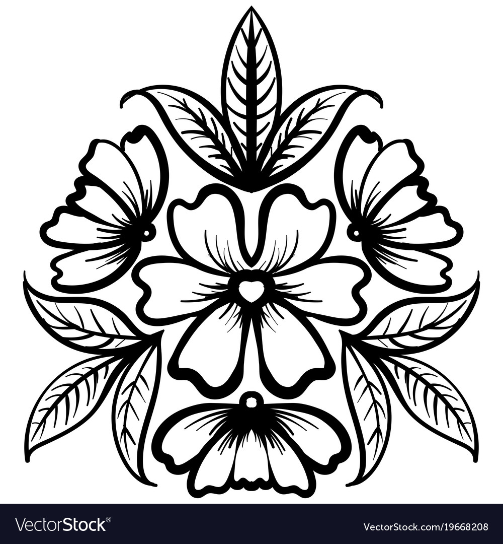 Wild rose flowers drawing and sketch line art vector image