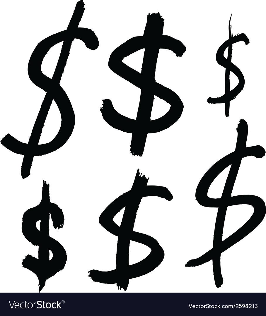 Black dollar signs vector image