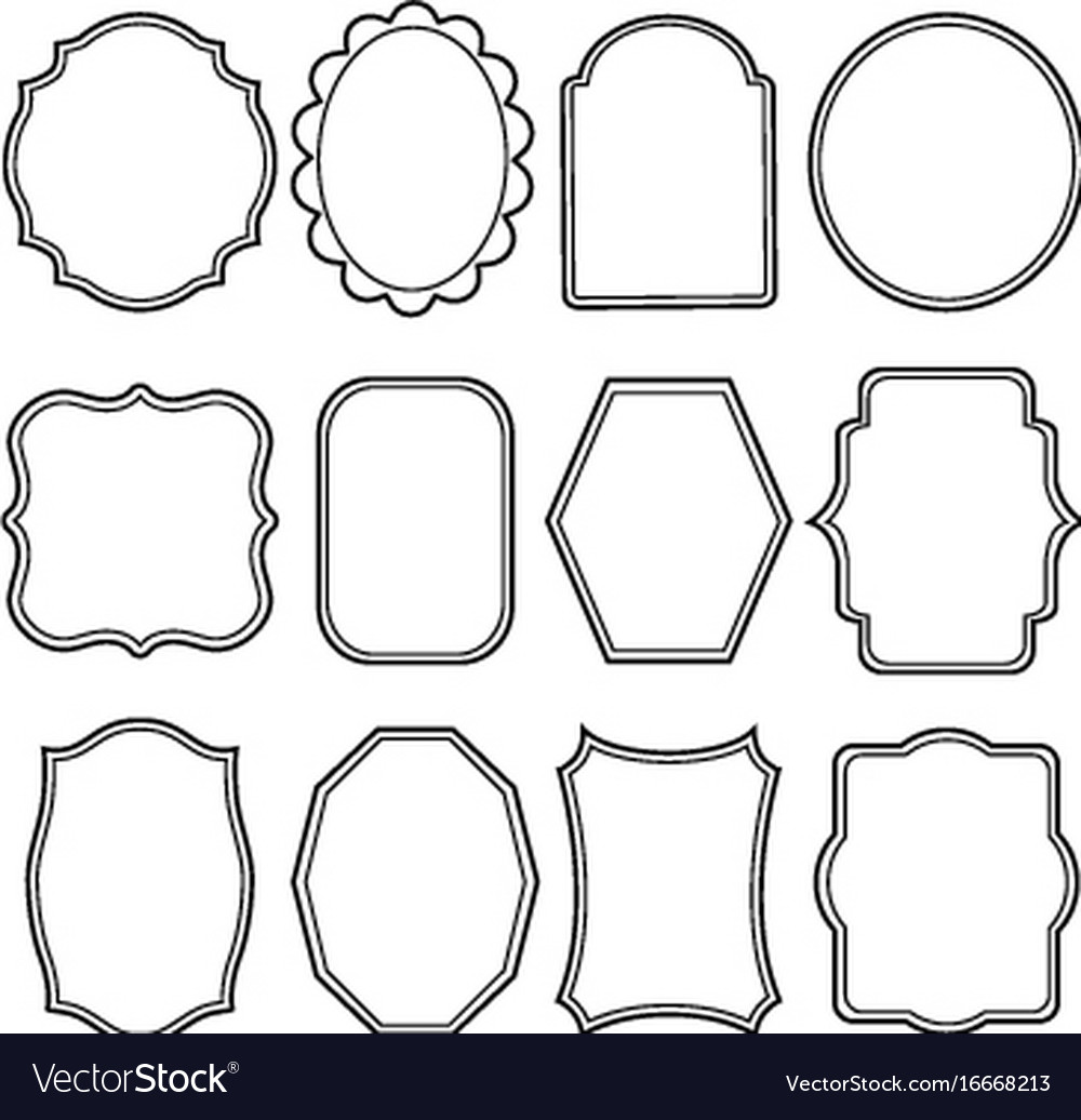 Blank frame and label mega set vintage retro Vector Image