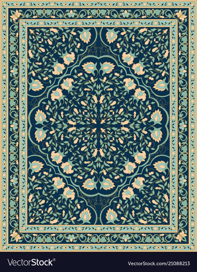 Blue template for carpet vector image