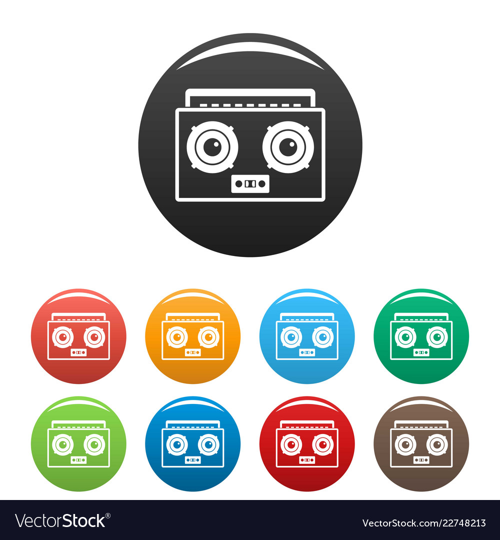 Boombox icons set color