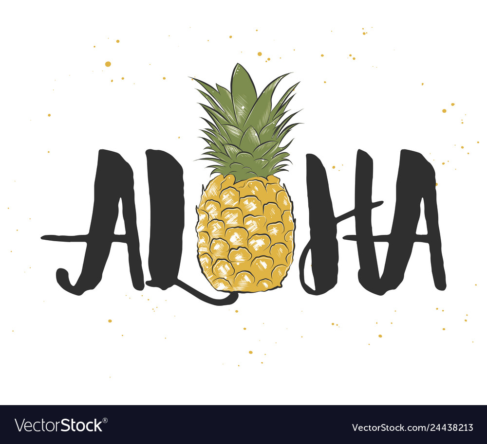 Card with hand drawn unique hawaiian typography