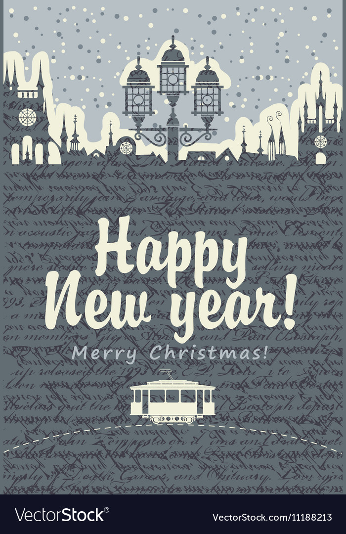 Christmas card with an old tram