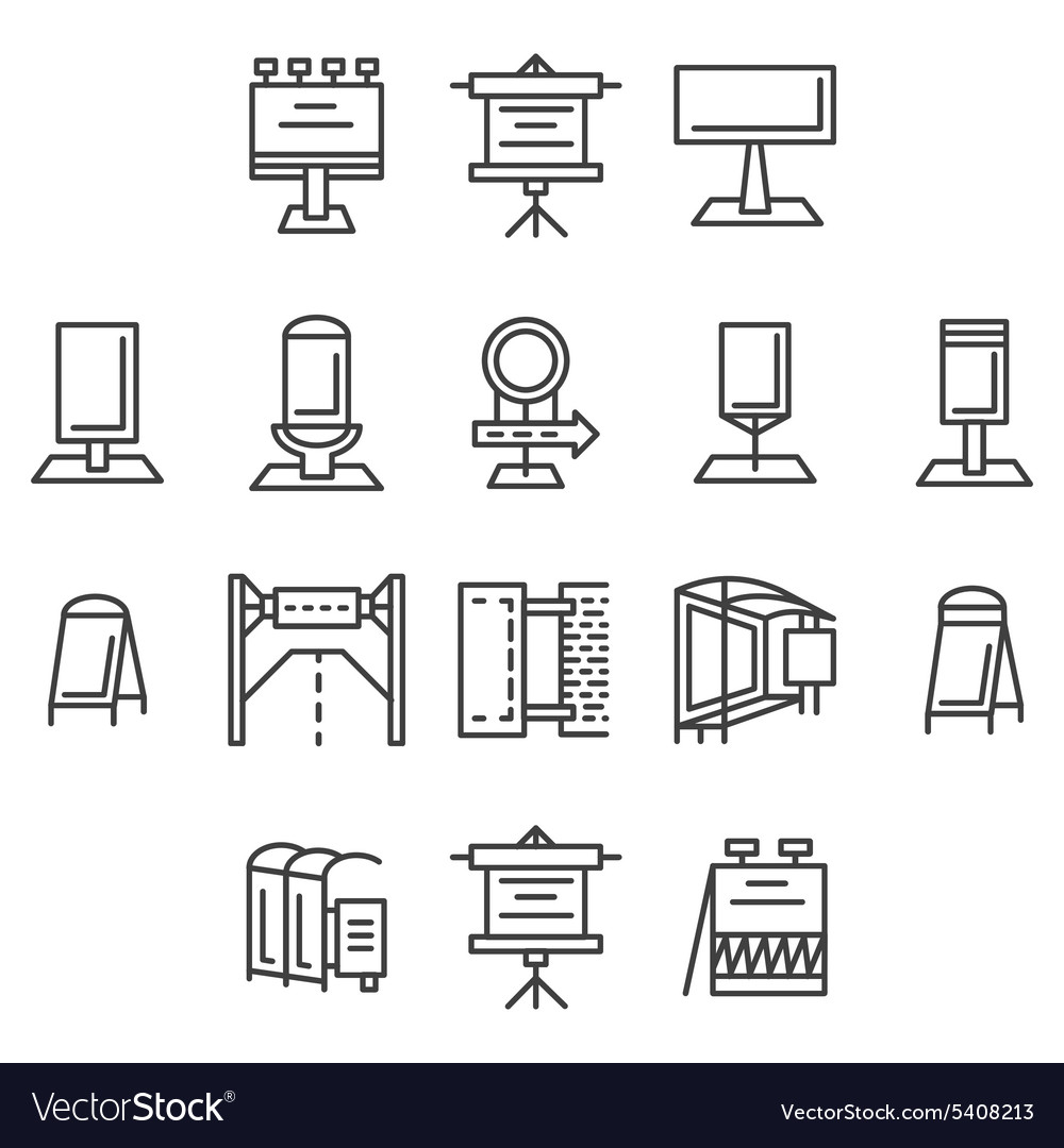 City advertisement flat line icons