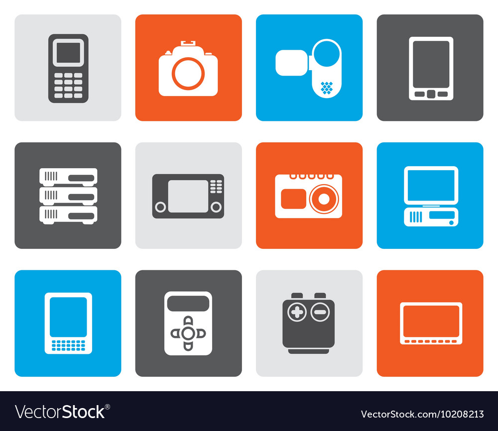 Flat technical media and electronics icons vector image