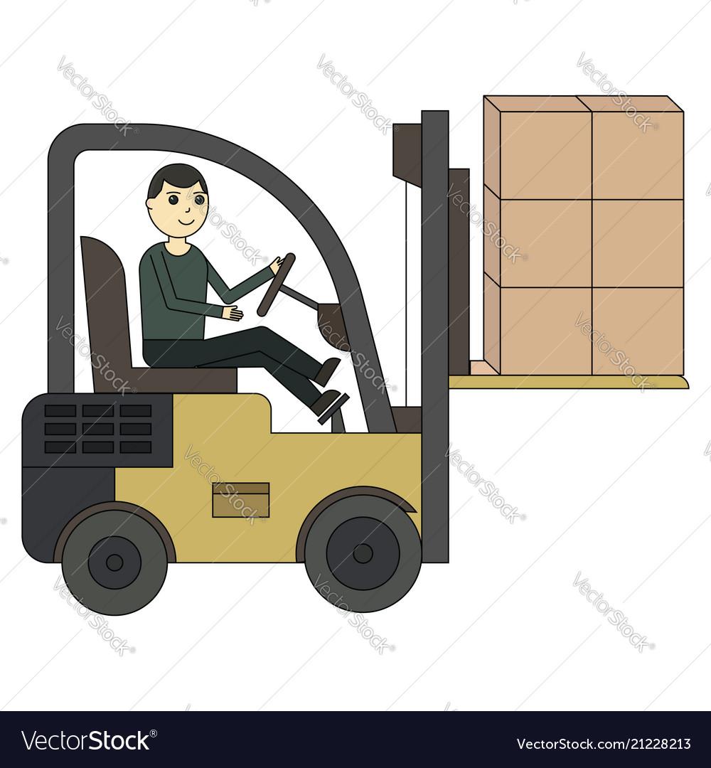 Forklift truck fork loader pallet with stacked