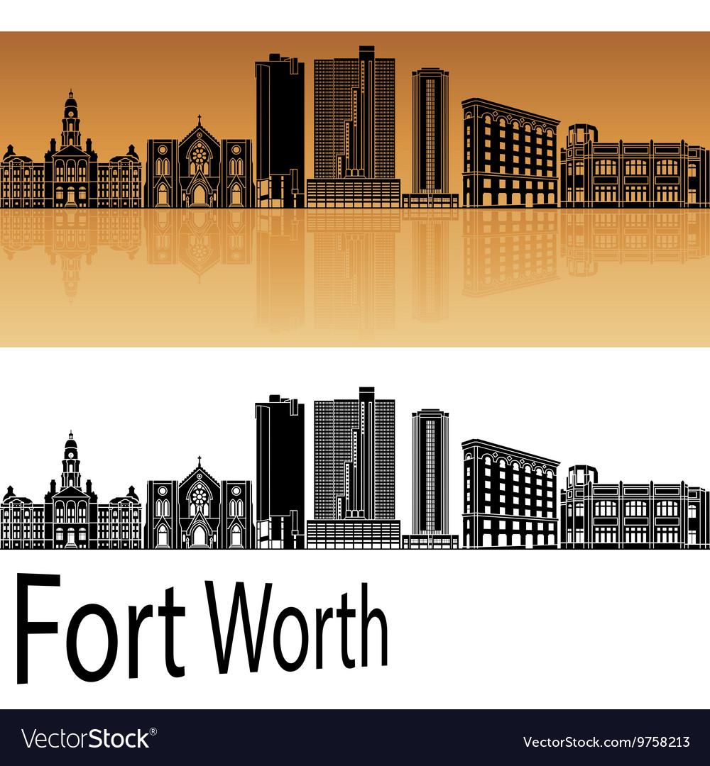 Fort Worth skyline in orange