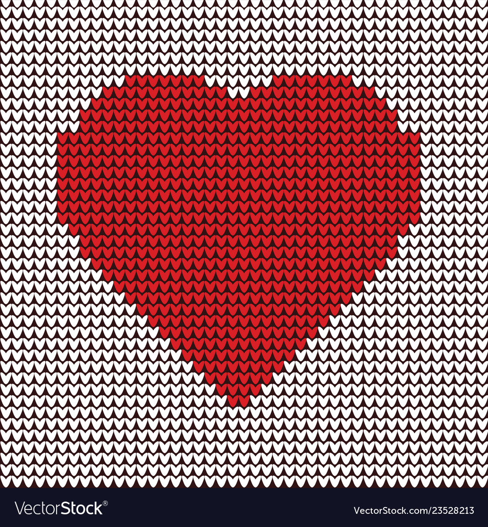 Heart embroidery on fabric pattern vector