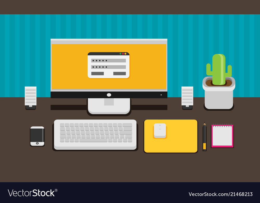 Office desk flat mock up template with flat