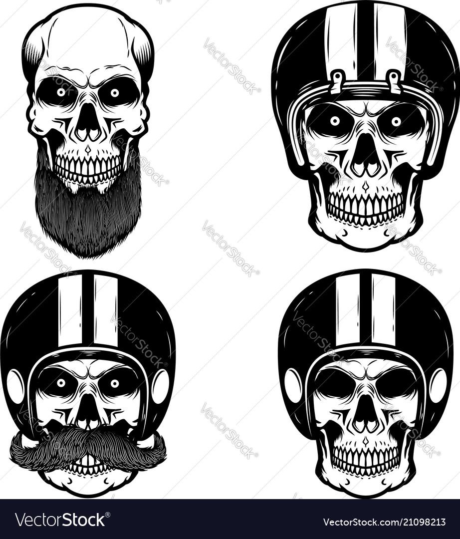 Set of skulls in biker helmet design element for