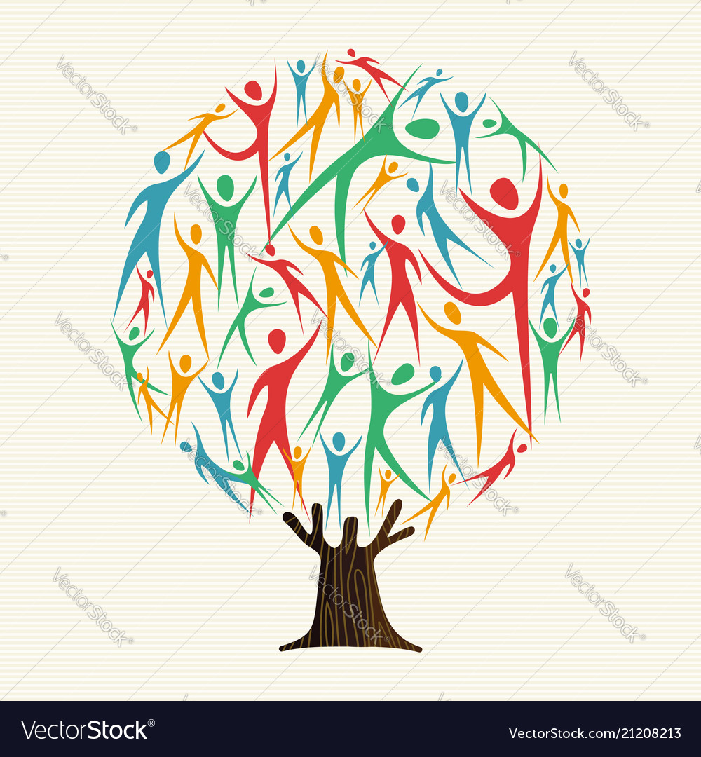 Tree of people shapes for community team concept