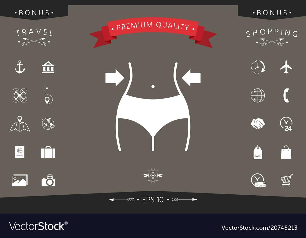 Women waist weight loss diet waistline icon