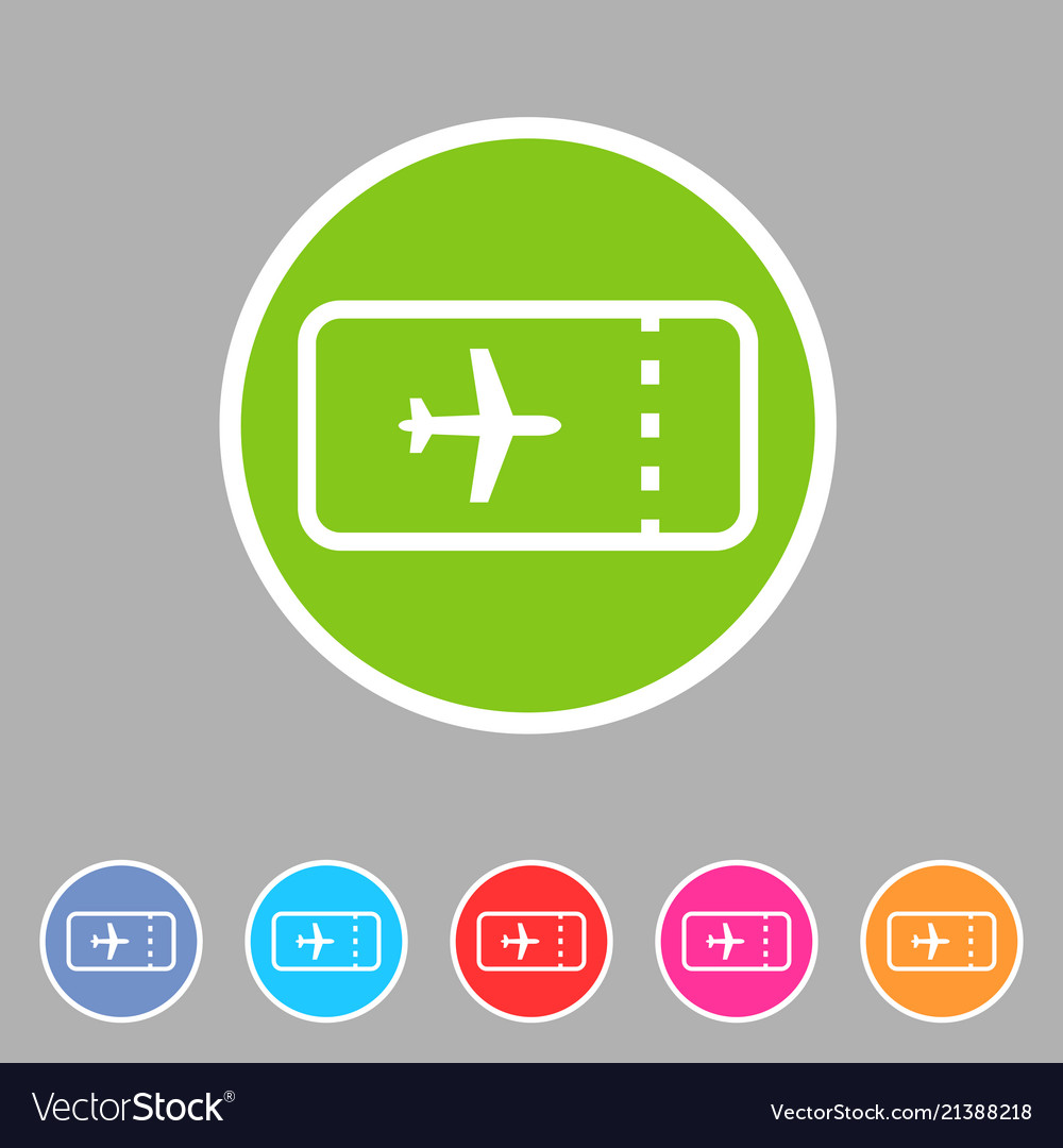 Aircraft airplane ticket trip travel icon flat web