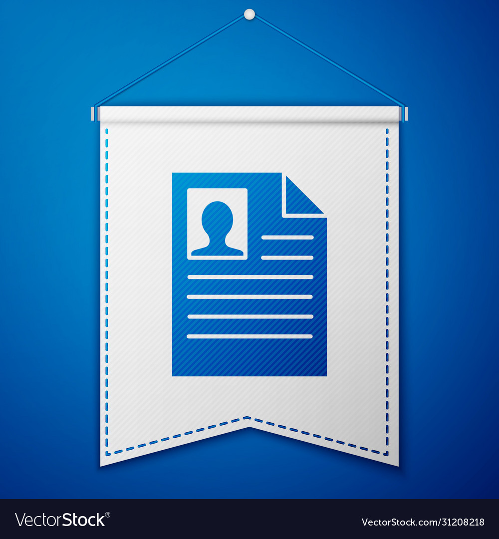 Blue Resume Icon Isolated On Blue Background Cv Vector Image