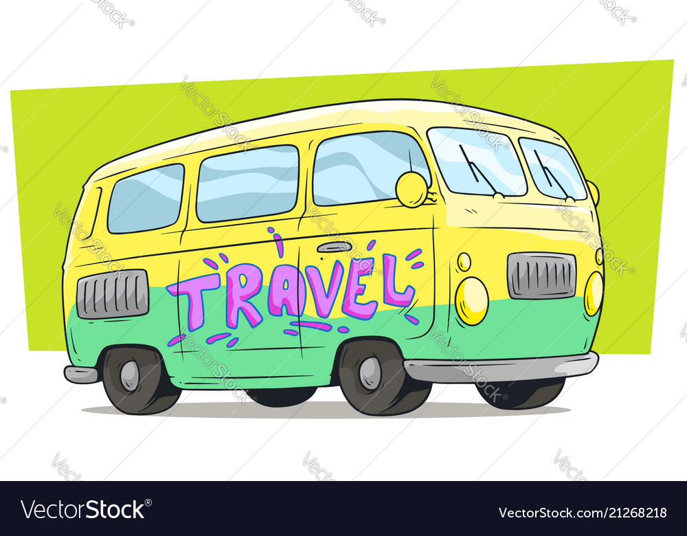 Cartoon retro van bus with text label travel
