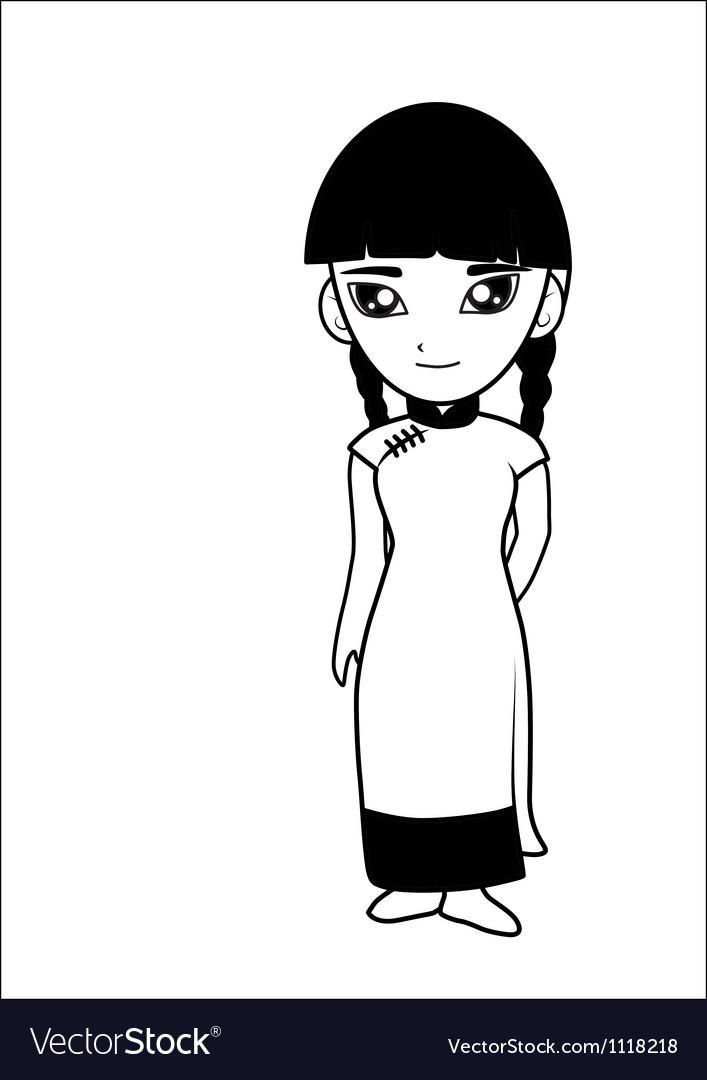 Chinese women cartoon vector image