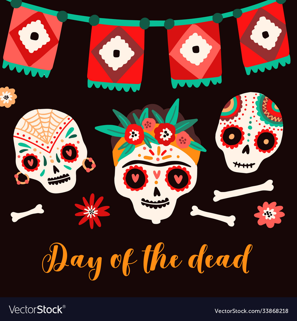 Day dead mexican holiday card flat
