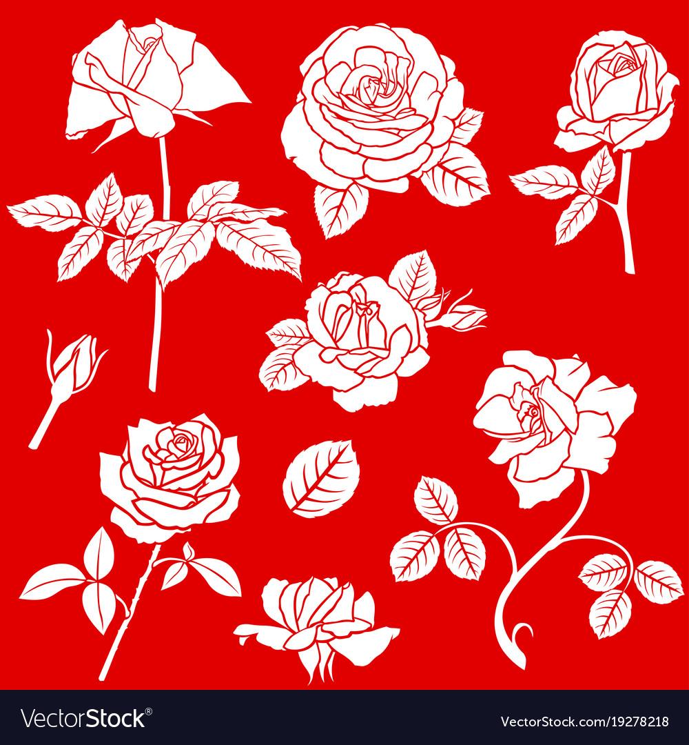 Decorative rose flower set
