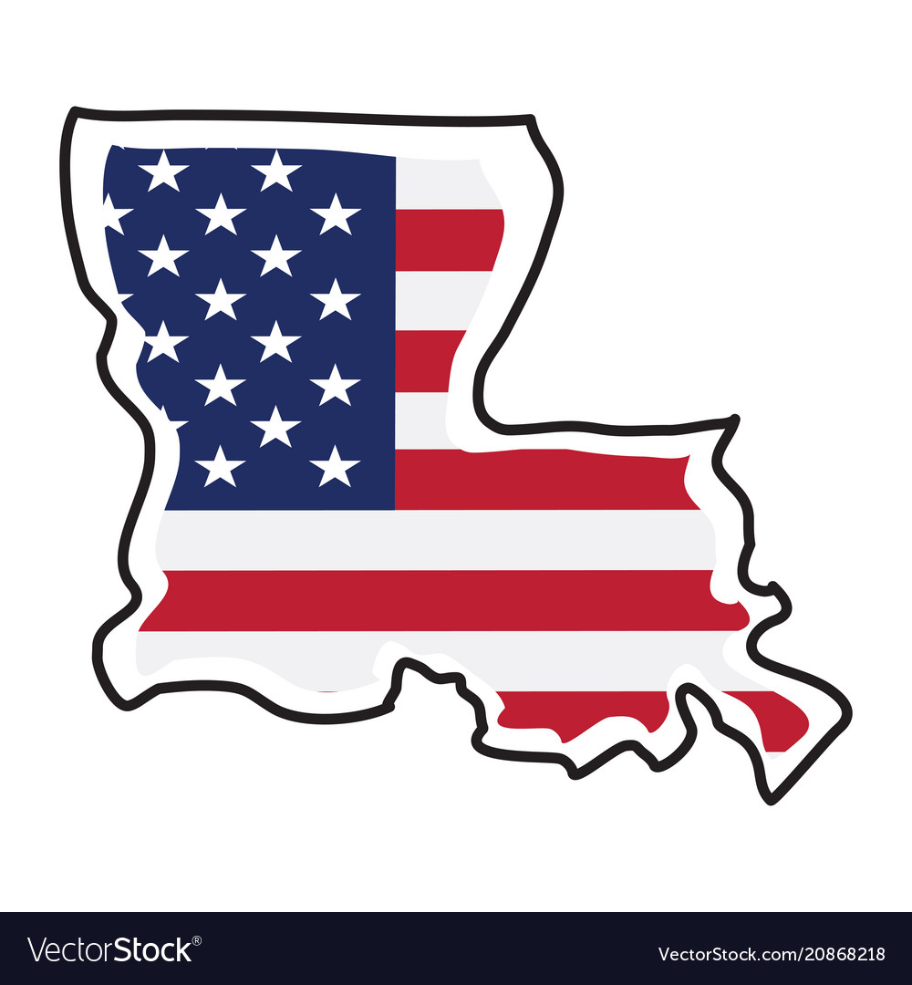 Isolated map of the state of louisiana