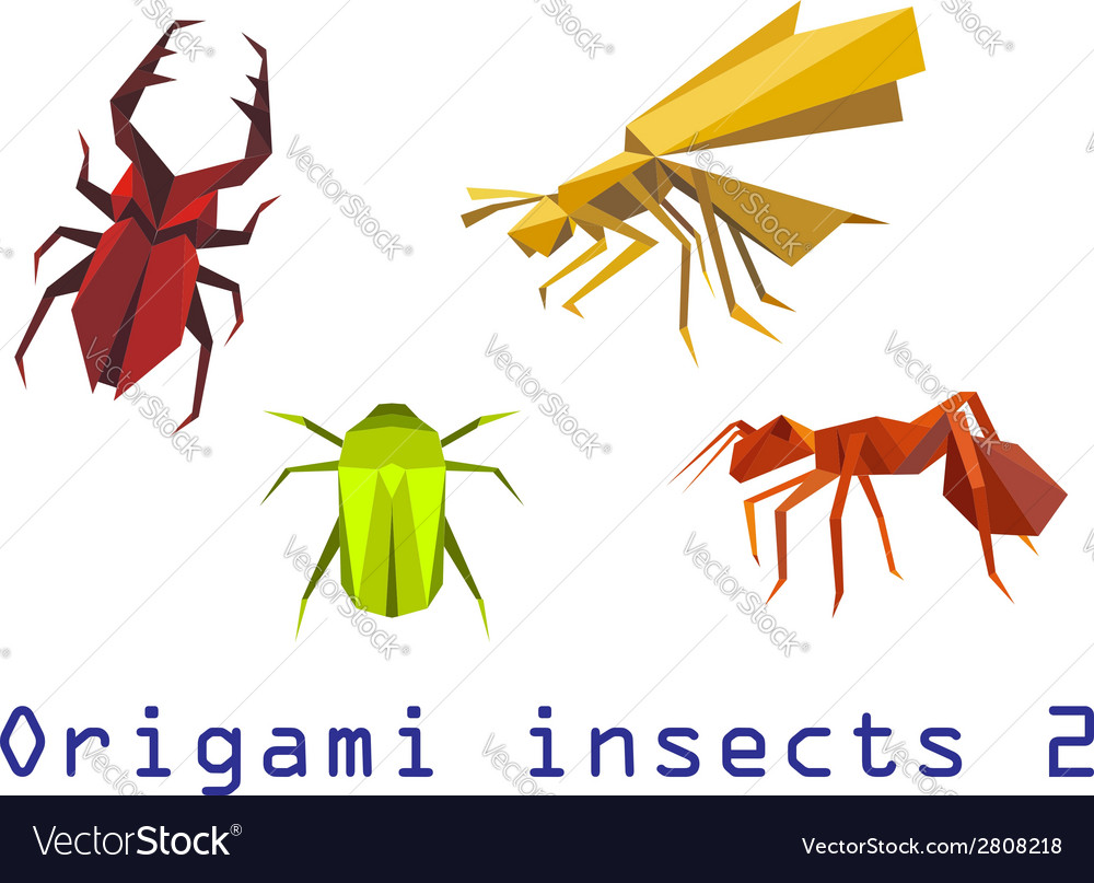 Origami Insects Set Royalty Free Vector Image Vectorstock