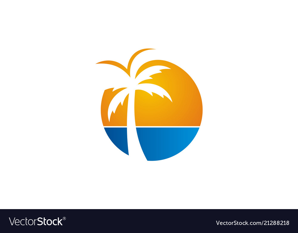 Palm tree beach icon logo