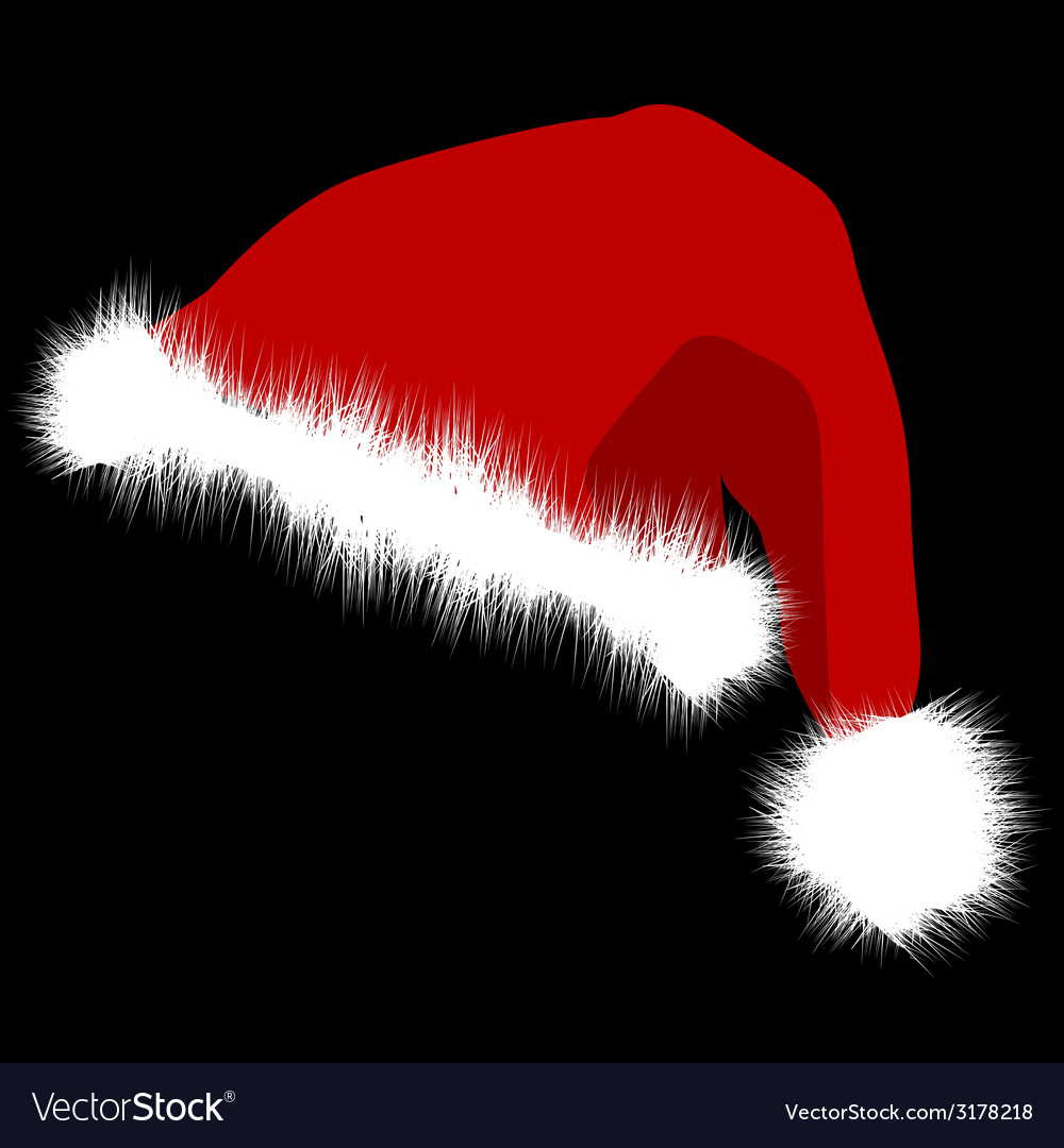 fea7b909a6047 Santa Claus red hat isolated on black background Vector Image