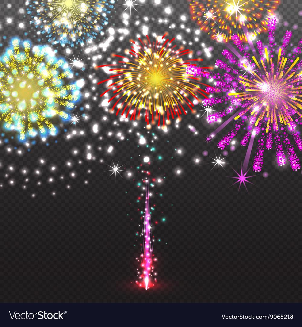 Set Festive Firework Salute Burst on Transparent