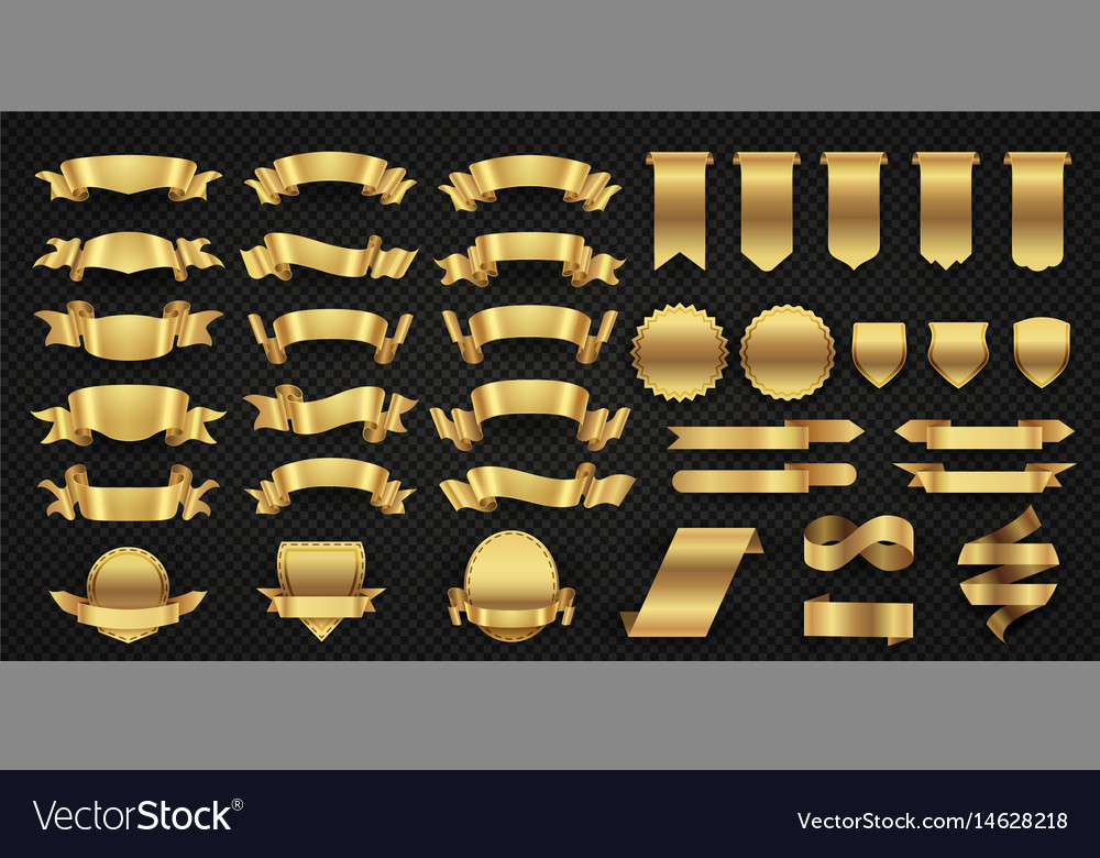 Wrapping gold banner ribbons elegant golden vector image