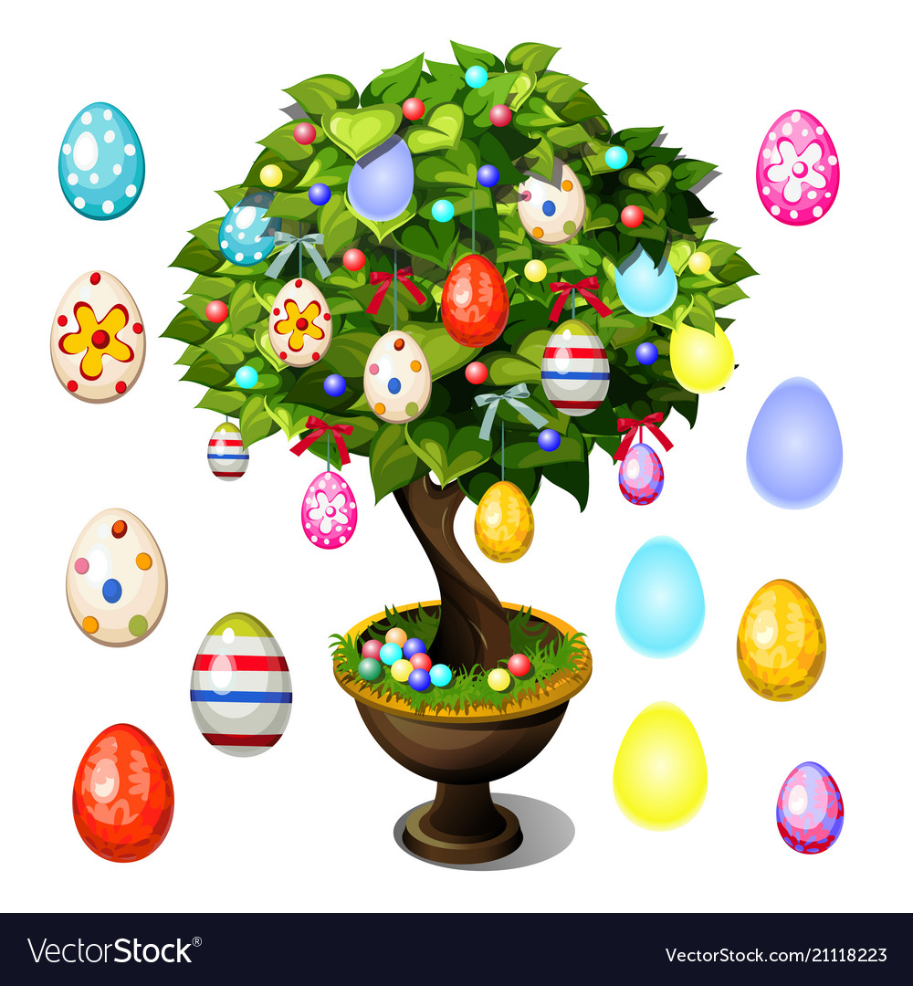 Bonsai tree decorated with easter eggs for poster
