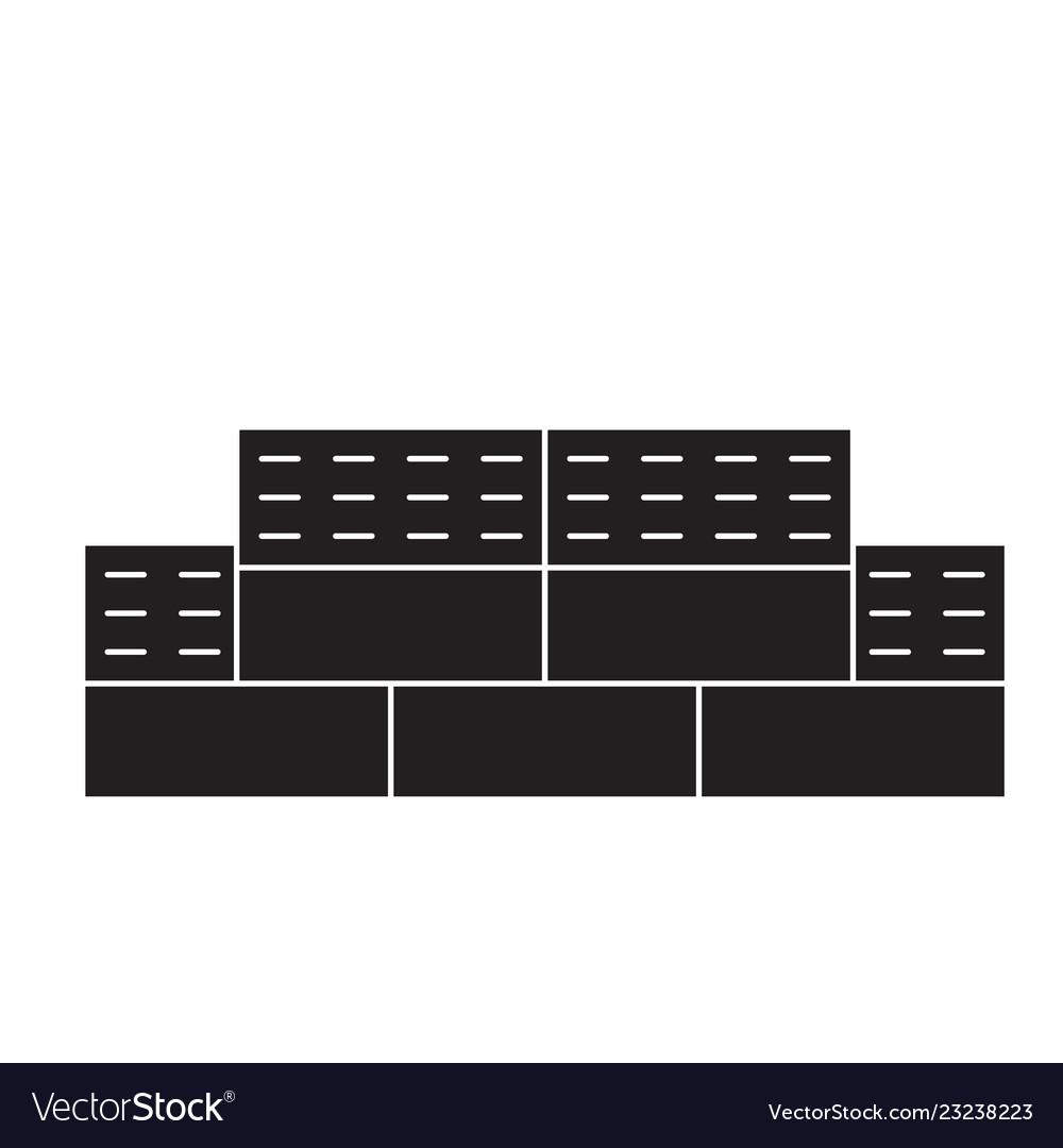 Bricks black concept icon bricks flat