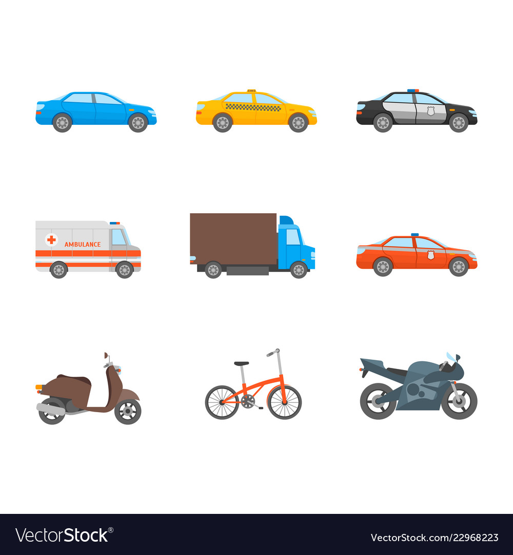 Cartoon urban transport icons set on a white
