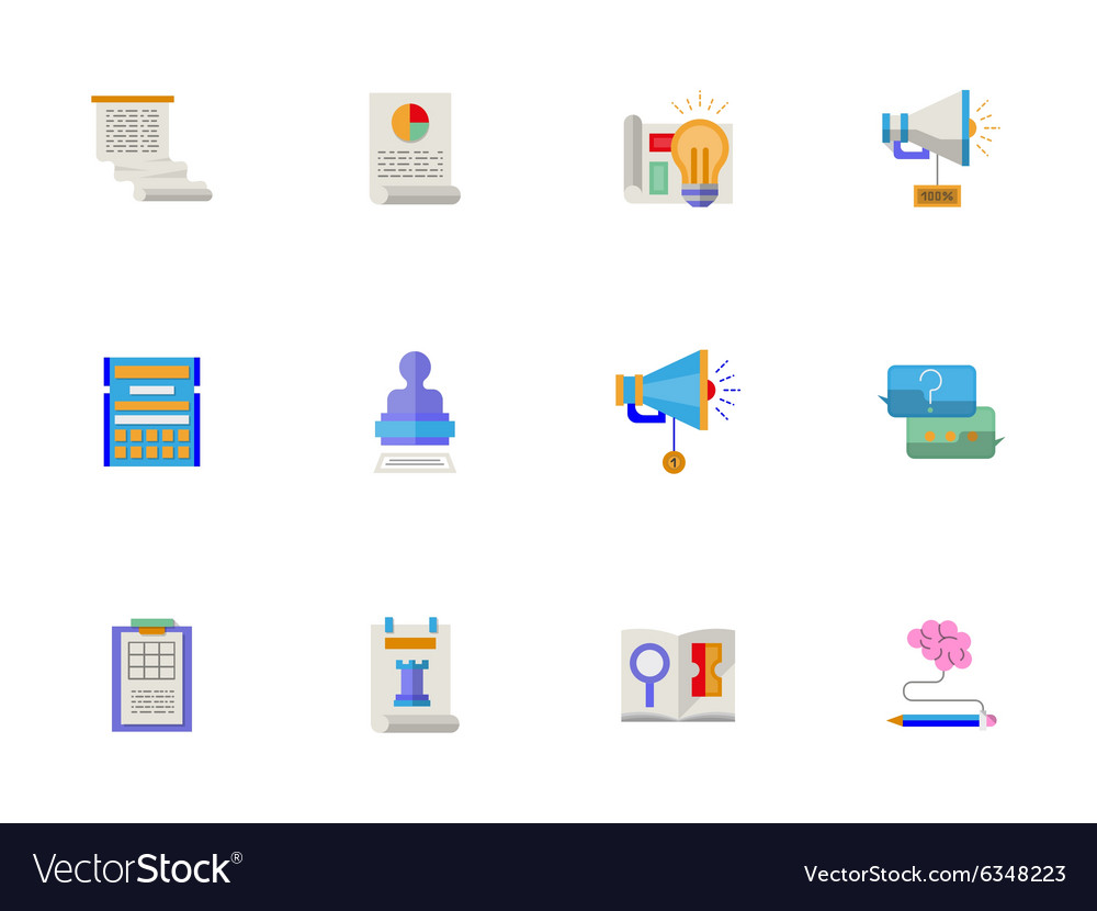 Flat color account planning icons set