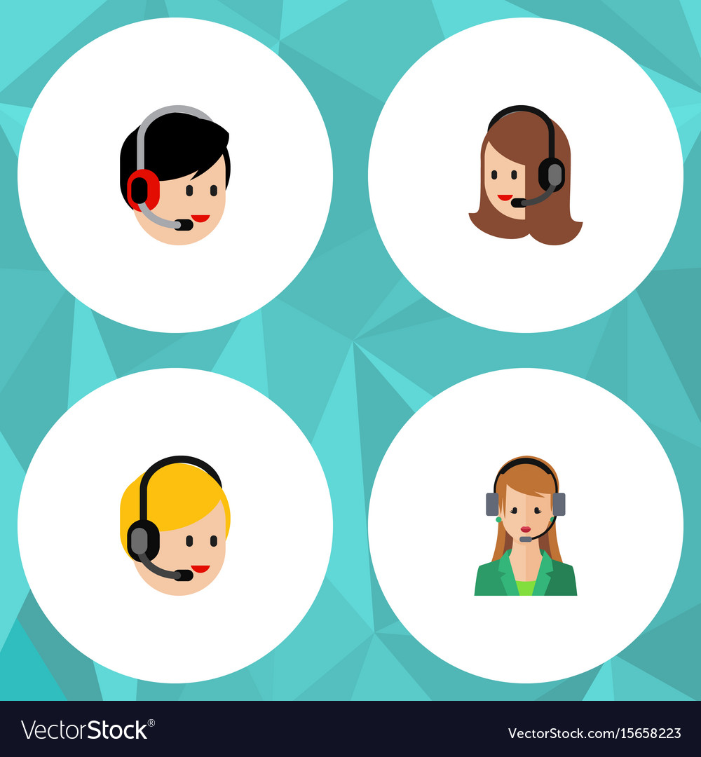 Flat icon telemarketing set of service call