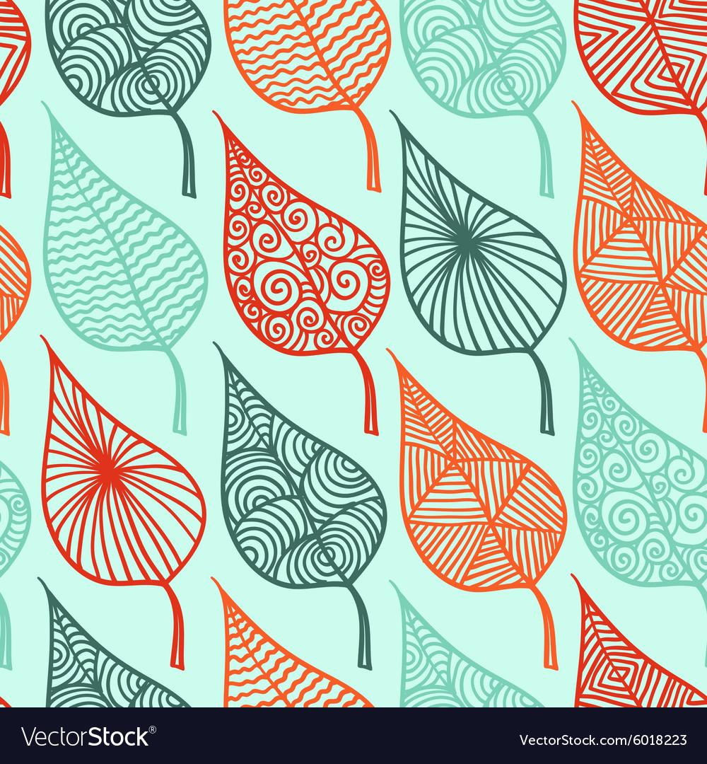 Floral leaf seamless pattern doodle