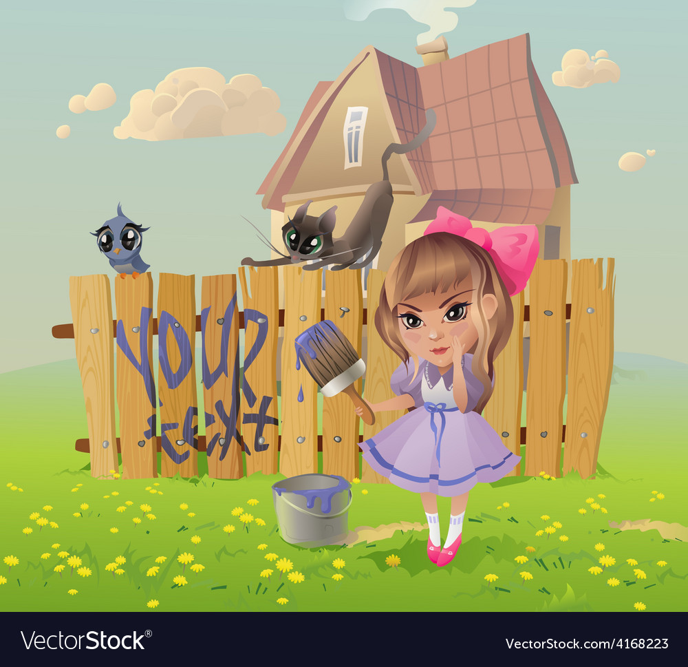Girl writes on the Fence