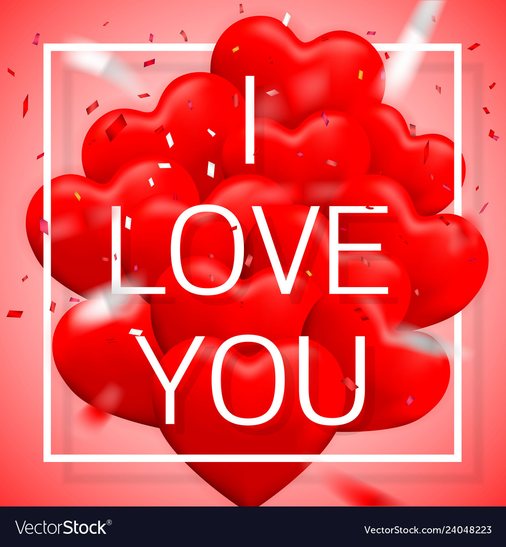 I love you happy valentines day red balloon in