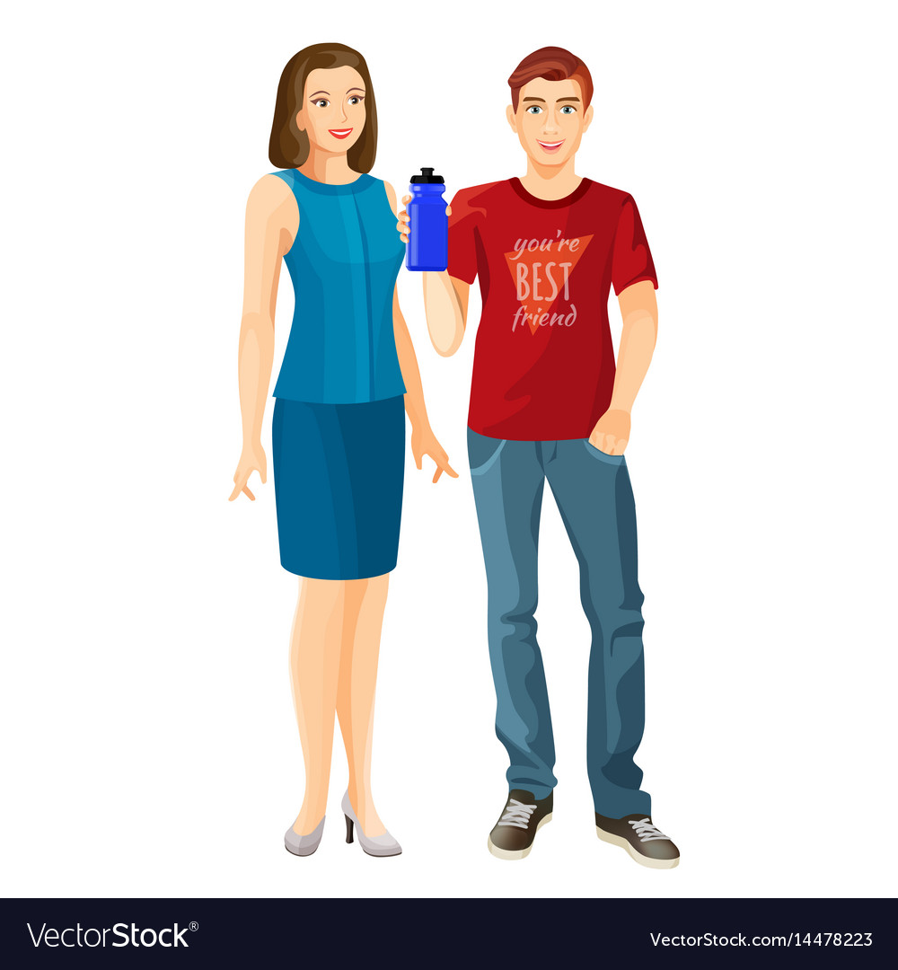 Man wears t-shirt and jeans woman in dress