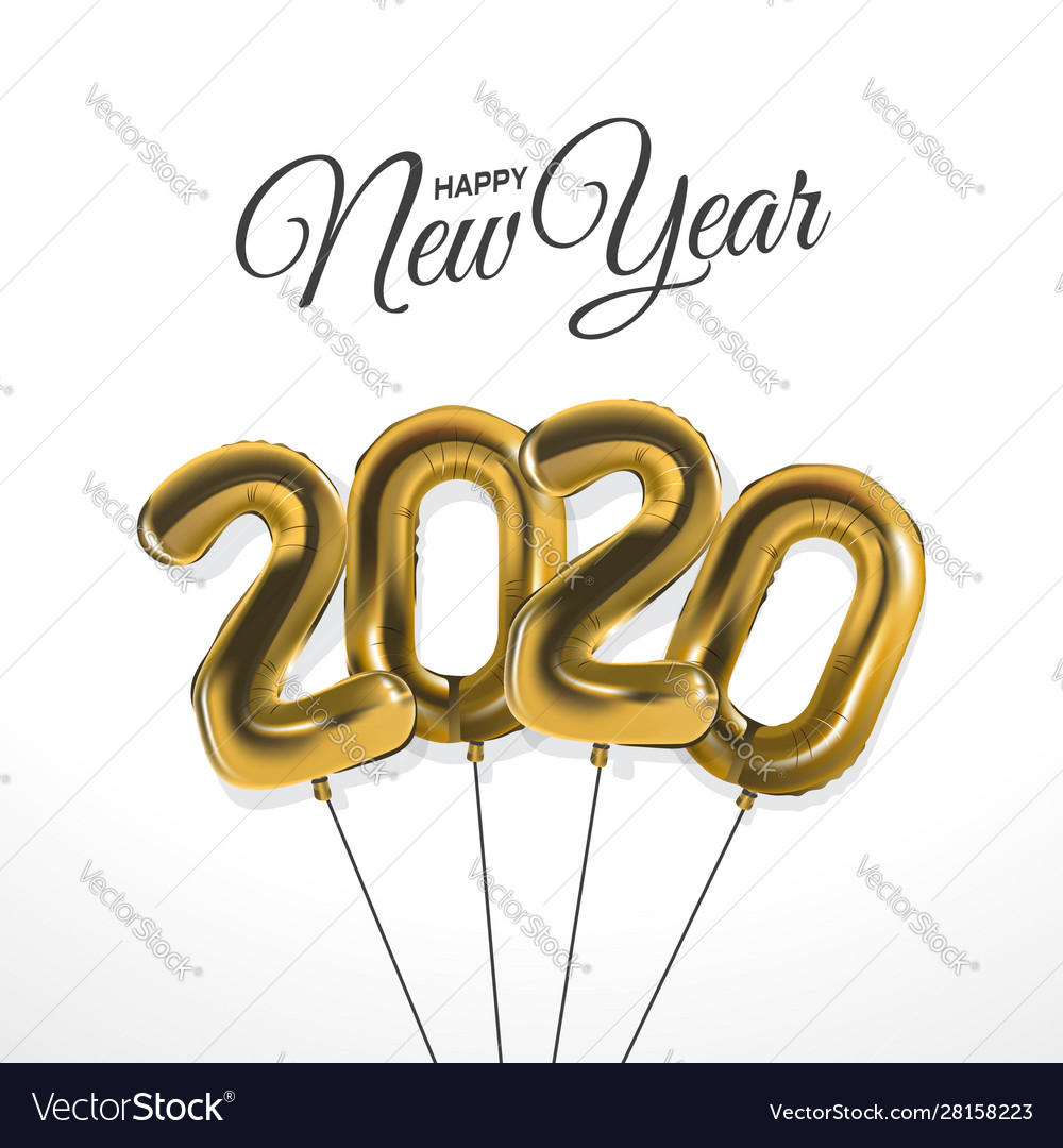 New year 2020 celebration with gold foil balloons