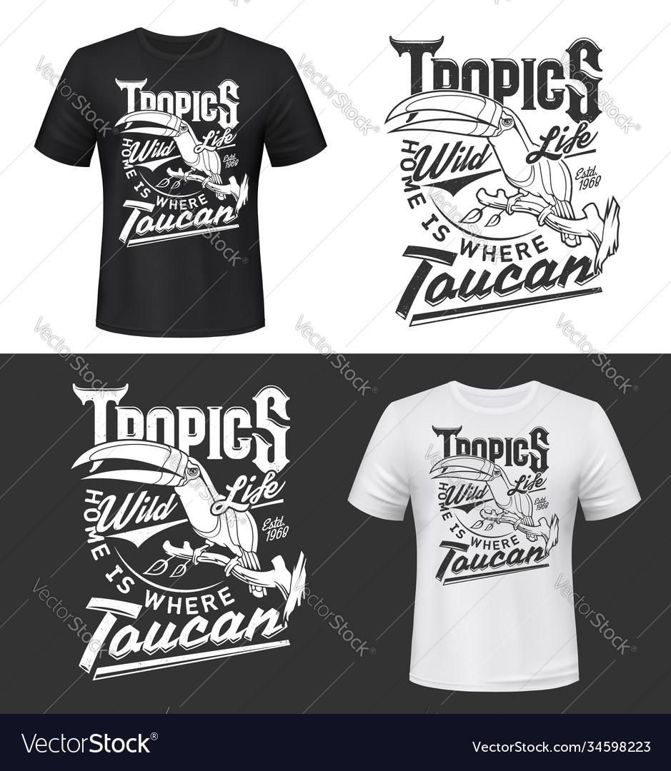 Toucan bird t-shirt print mockup tropic life