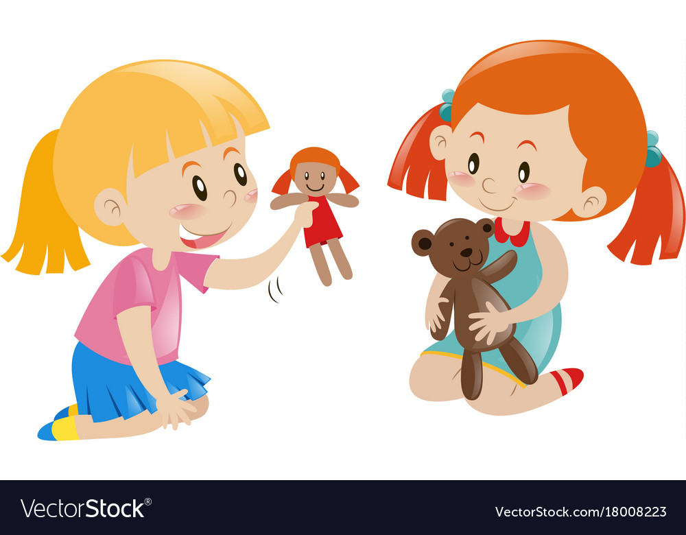 Two Girls Playing Doll And Teddy Bear Royalty Free Vector