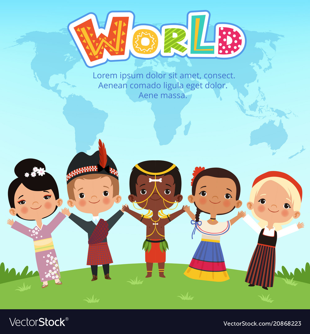 Worldwide kids of different nationalities standing