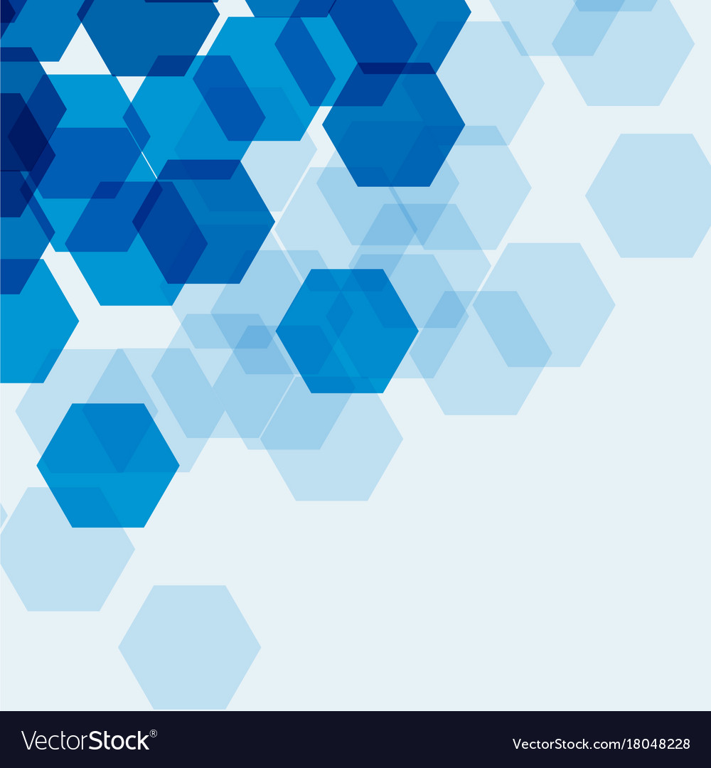 Background Template With Blue Hexagons Royalty Free Vector
