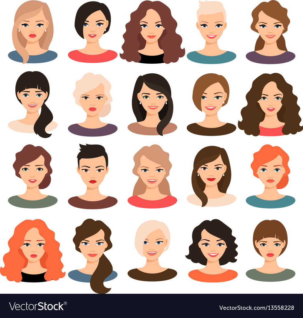 Beautiful young girls portrait set vector image