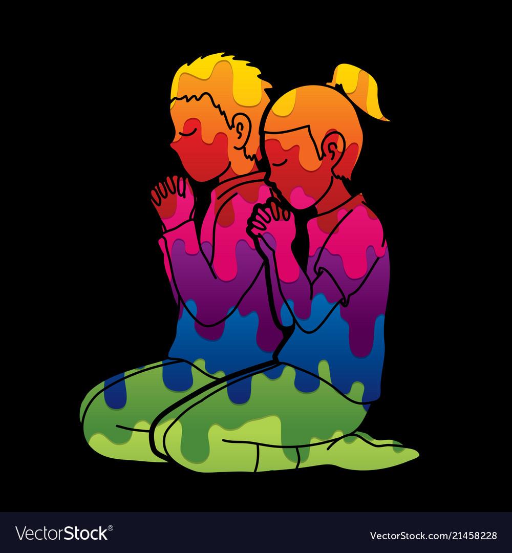 Boy and girl pray together prayer christian pray