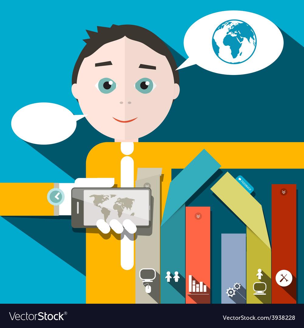Businessman and Social Media - Infographics