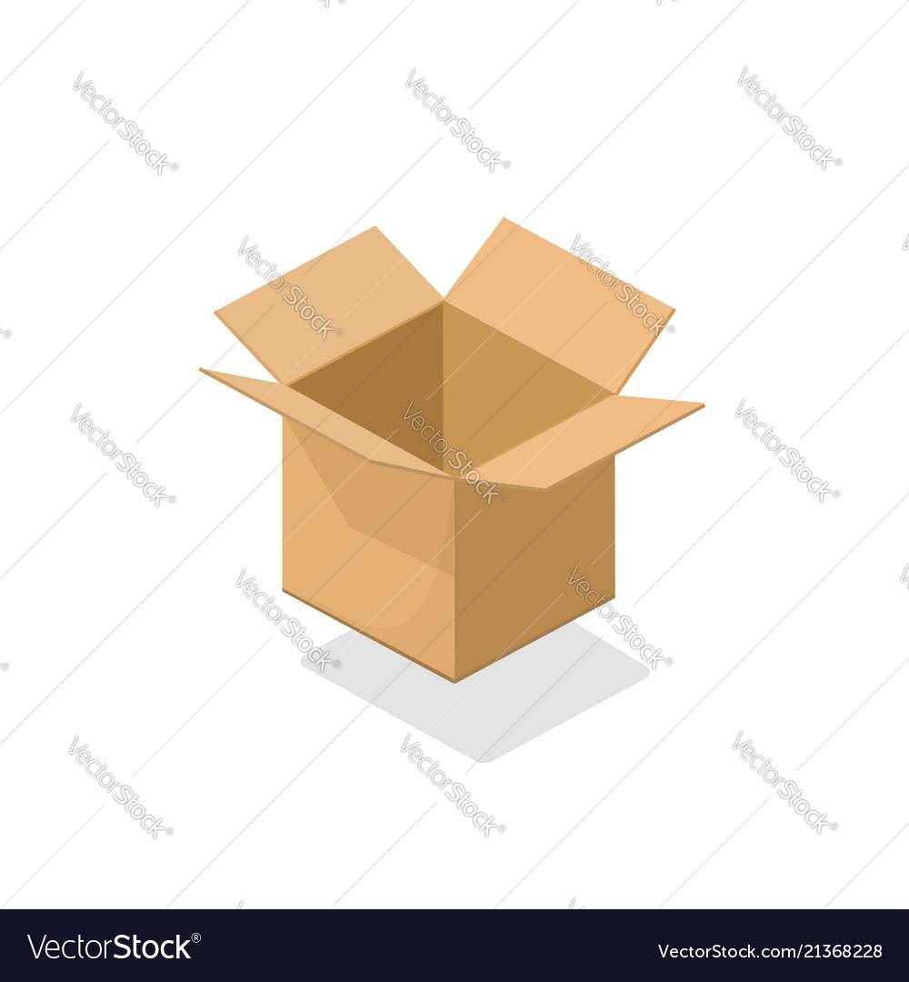 Carton box open empty 3d
