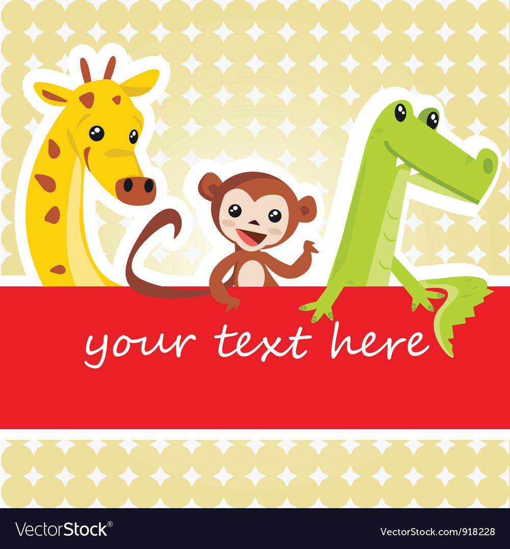 Cartoon animal card vector image