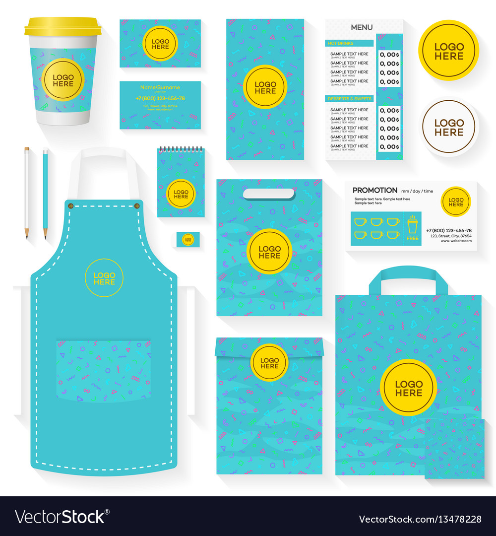 Coffee shop identity template set turquoise color